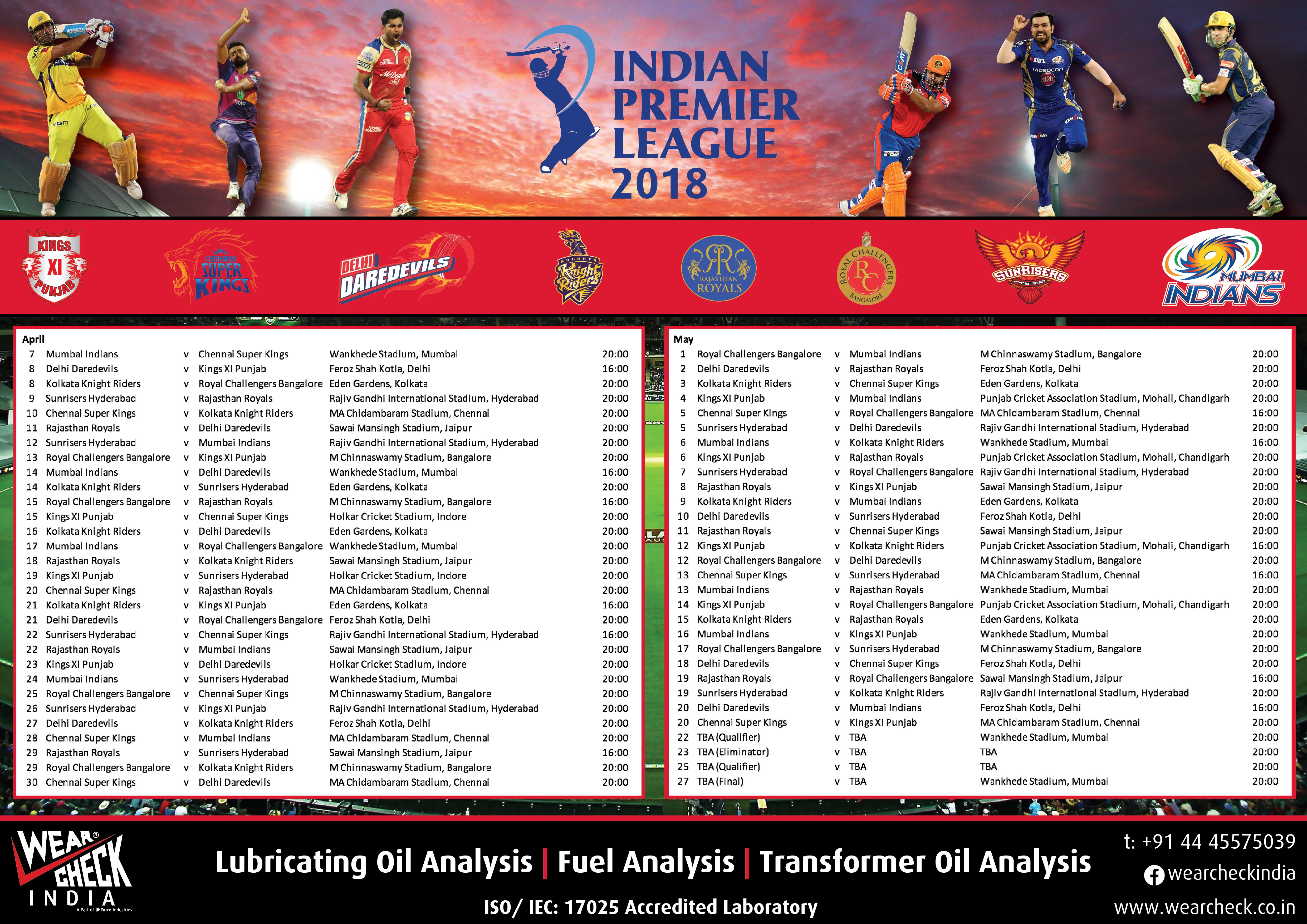 IPL 2018 Fixtures